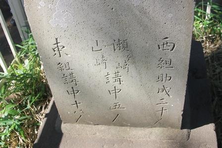 富士塚に記された講の名前