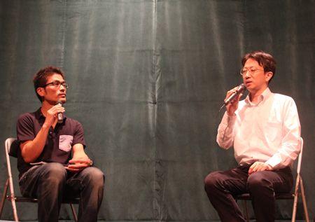 重江良樹監督(左)と稲葉剛さん